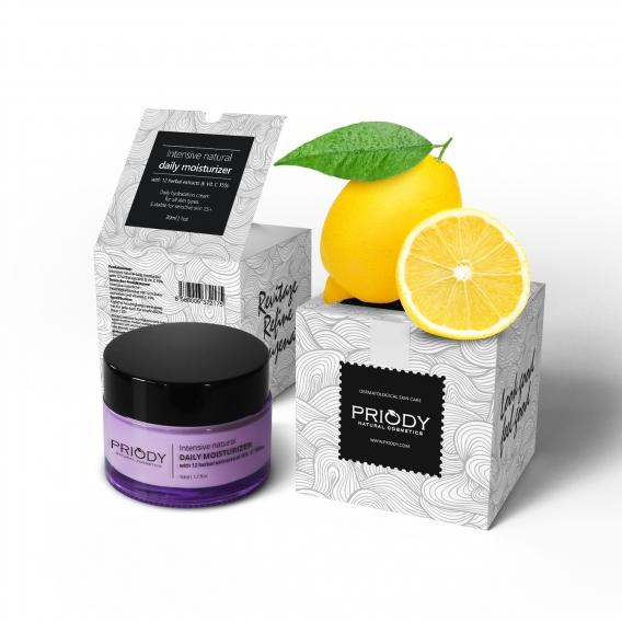 PRIODY   Intensive natürliche Feuchtigkeitscreme mit 12 Kräuterextrakten und Vitamin C 15%